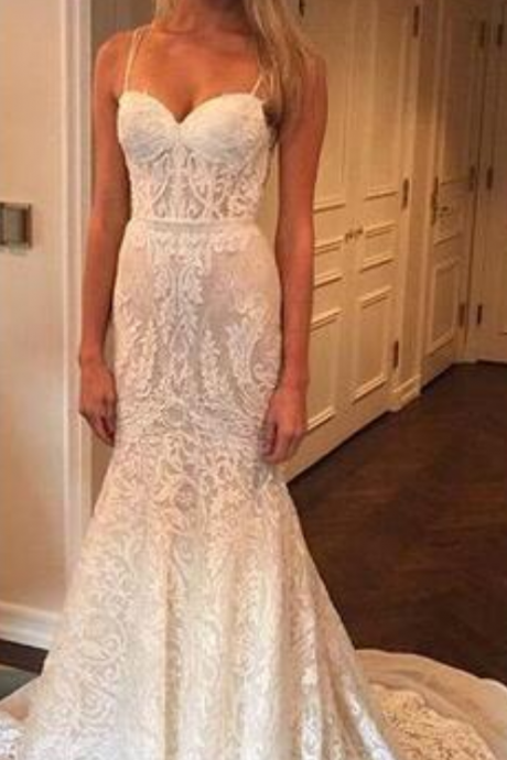 New Sexy Designer Luxury Full Lace Wedding Dresses Sweetheart Spaghetti Straps Backless