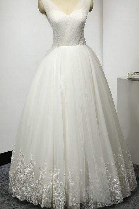 Charming White Wedding Dress ,Tulle Wedding Gown Dress