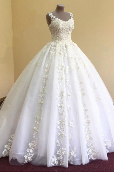 Wedding Dresses, Wedding Gown,elegant lace appliques v neck white organza ball gowns wedding dress