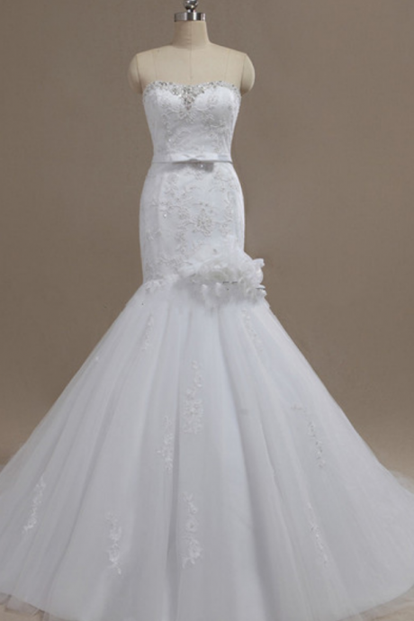 Beaded Embellished and Lace Appliques Sweetheart Floor Length Tulle Mermaid Wedding Dress