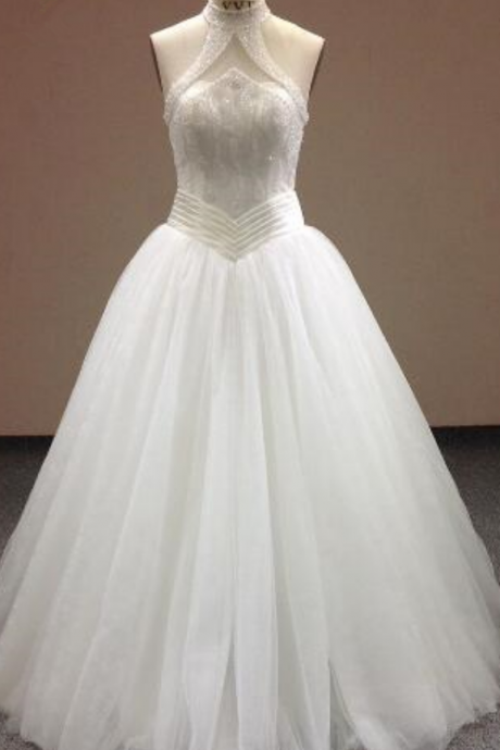 New Beaded Halter Off the Shoulder Sweep Train Wedding Dress Sexy Slim Lace Wedding Dress Custom