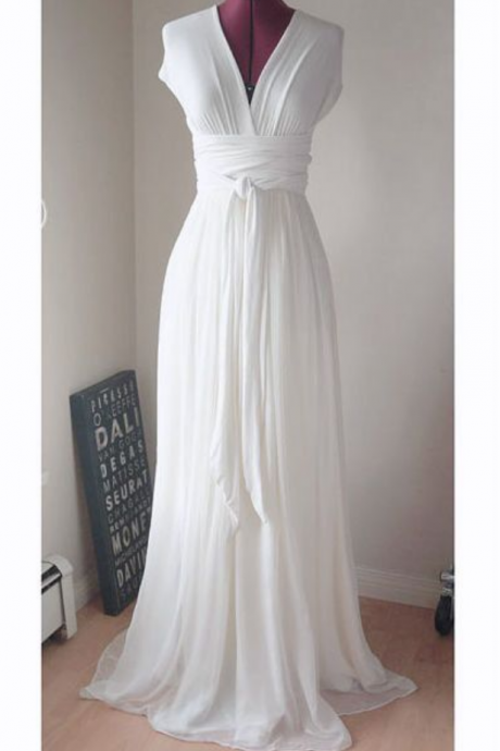 Vintage Chiffon Wedding Dresses Deep V Neck Brdial Gowns