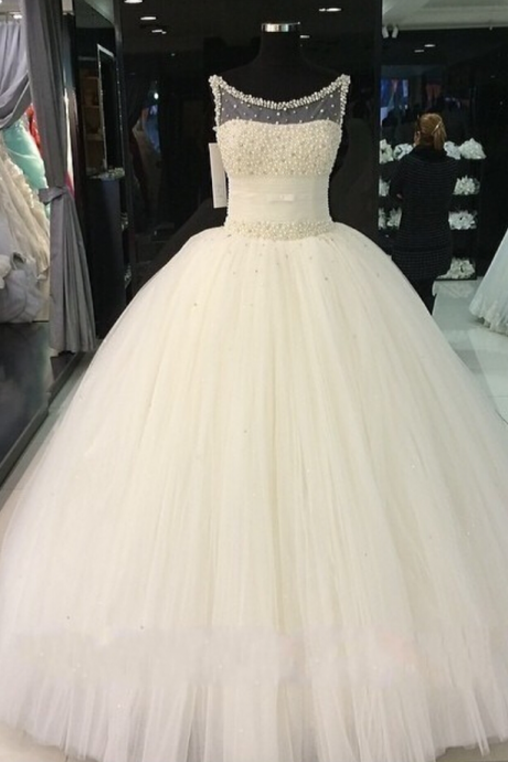 Gorgeous Ball Gown Wedding Dresses Jewel Sweep/Brush Top Beading Tulle Quinceanera Bridal Gowns White/Ivory Custom
