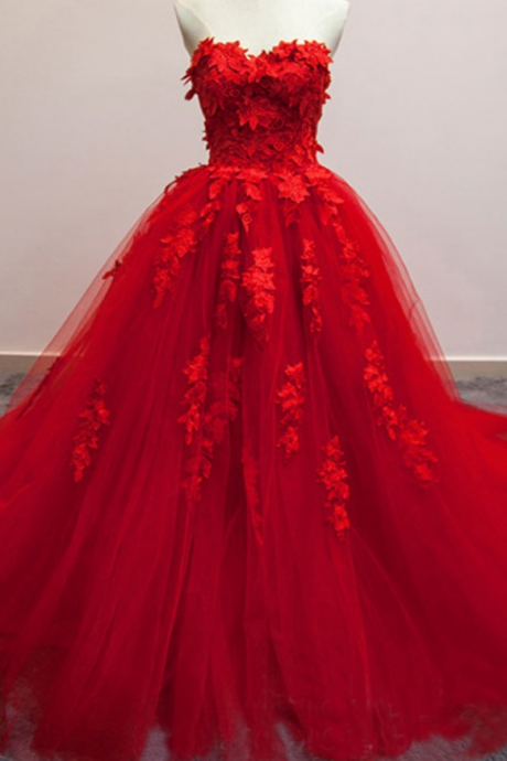 Wedding Dress, Long Wedding Dresses, Red Sweetheart Appliques Lace Up Back Tulle Wedding Dress