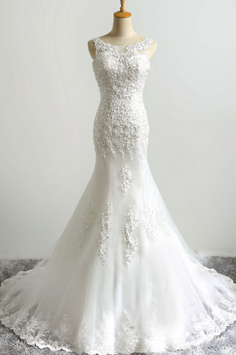 Lace Appliqué and Beaded Tulle Trumpet Wedding Dress Featuring Sheer Bateau Neckline and Lace-Up Back
