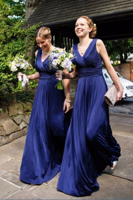 Elegant V Neck Bridesmaid Dresses, Blue Evening Dresses, Sleeveless Long Bridesmaid Dresses,Pleated Bridesmaid Dress