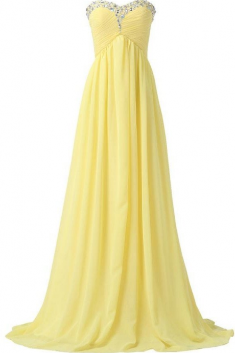 Bridesmaid Dresses,Sweetheart Long Yellow Chiffon Beaded Prom Dresses,Pregnant Dresses,High Low Prom Dress For Teens,Simple Cheap Party Dresses,Evening Dresses