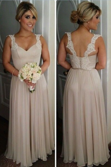 Simple Lace Backless Long Bridesmaid Dresses,Cheap Chiffon Bridesmaid Gowns,A-line Modest Prom Dresses,Beautiful Bridesmaids Dresses