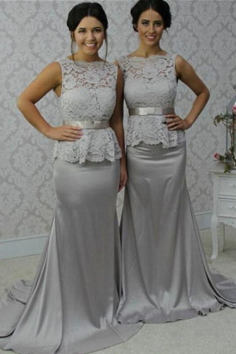 Sweep Train Sliver Grey Long Bridesmaid Dresses,Lace Bridesmaid Dress,Mermaid Simple Cheap Bridesmaid Gowns