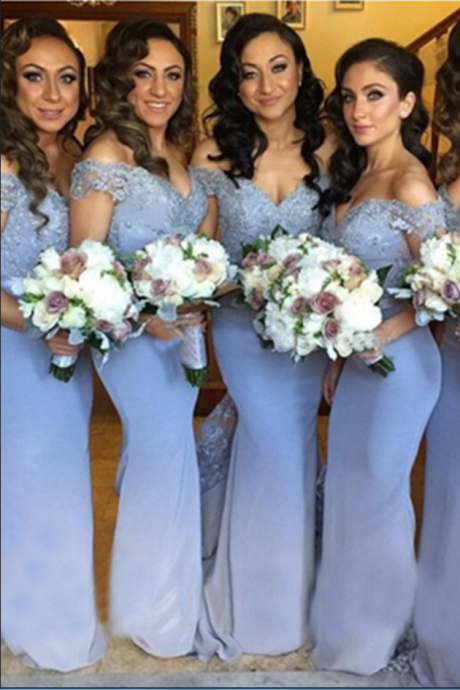 Lavender Off Shoulder Bridesmaid Dresses,Lace Bridesmaid Dress,Long Mermaid Bridesmaid Gowns,Elegant Beautiful Bridesmaid Dresses