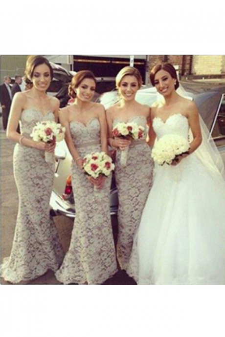 Top Selling Lace Mermaid Long Bridesmaid Dresses For Wedding,Mermaid Sweetheart Modest Bridesmaid Gowns