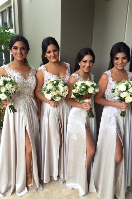 Sexy Lace Bridesmaid Dresses, Slit Satin Bridesmaid Dresses, Custom Bridesmaid Dresses, Cheap Bridesmaid Dresses, Bridesmaid Dresses, Popular Bridesmaid Dress