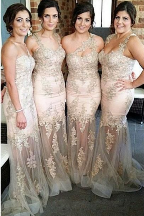 Champagne Lace Bridesmaid Dresses, Mismatched Organza Bridesmaid Dresses, Mermaid Bridesmaid Dresses, Long Prom Dresses, Prom Dresses, Cheap Bridesmaid Dresses, Bridesmaid Dresses, Popular Bridesmaid Dress