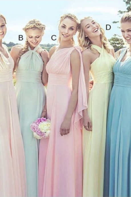 Custom Made Pastel Coloured Chiffon Floor Length Mismatched Bridesmaid Dress