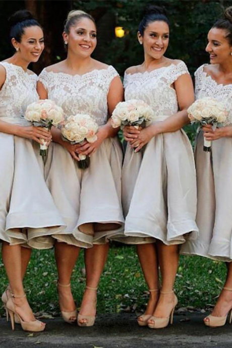 Tea Length Elegant Bridesmaid Dress,Chiffon Bridesmaid Dress,Bridesmaid Dress With Appliques,Cheap Bridesmaid Dress