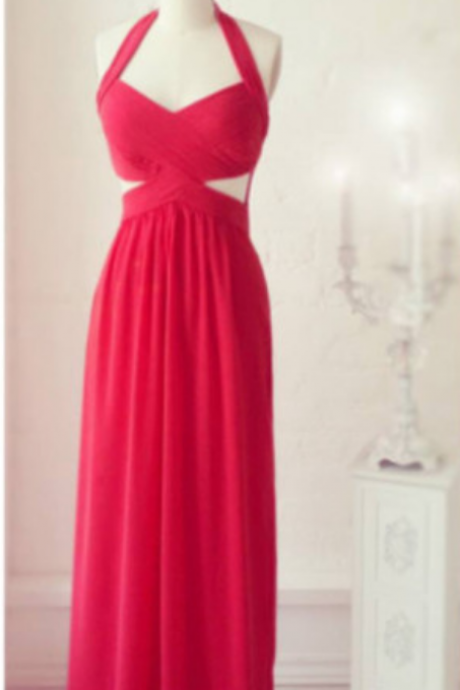 Prom Dresses,Pretty Prom Dresses,Chiffon Prom Gown,Backless Bridesmaid Dress,Open Back Bridesmaid Dresses,Red Bridesmaid Gowns,Bridesmaid Dresses