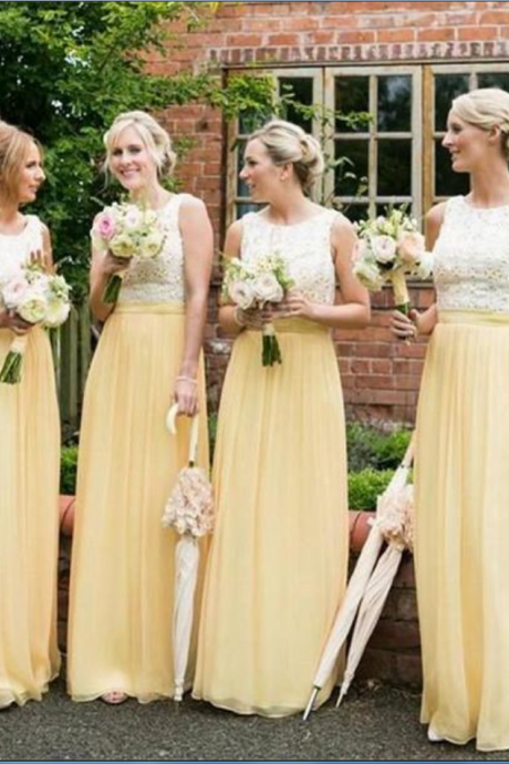 Long Bridesmaid Dresses, Yellow Bridesmaid Dresses ,Chiffon Bridesmaid Dresses ,Cheap Bridesmaid Dresses ,Sleeveless Bridesmaid Dresses ,Lace Top Bridesmaid Dresses