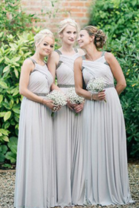 light gray bridesmaid dress, long bridesmaid dress, chiffon bridesmaid Dress, cheap bridesmaid dress, discount Bridesmaid Dress