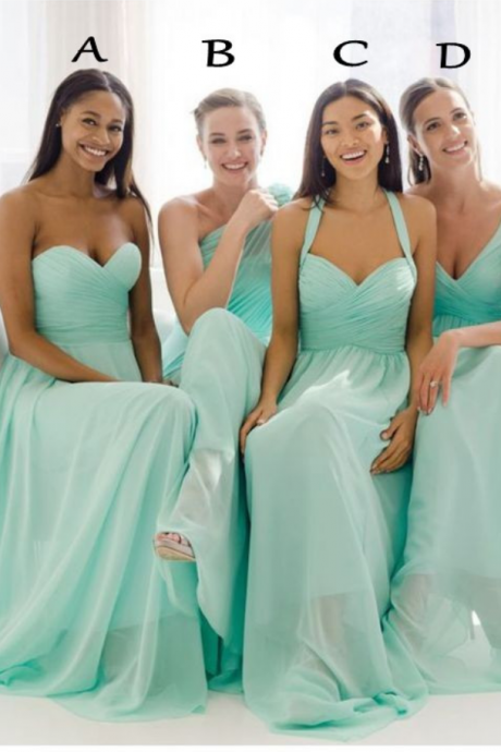 Custom Made Plus Size Chiffon Turquoise Bridesmaid Dresses Long Sweetheart Floor Length Mint Green Bridesmaid Dresses 2016 Mix Cheap Bridesmaid Dresses
