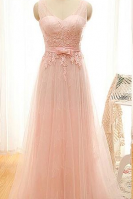Pink Long Prom Dress,Tulle Prom Dress, Backless Prom Gown, Lace Appliques Evening Dress, Elegant Homecoming Dress