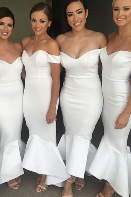 bridesmaid Dress,Mermaid Bridesmaid Dresses,Sexy Bridesmaid Dresses ,White Wedding Party Dresses,Wedding Guest Dress, Evening Dress