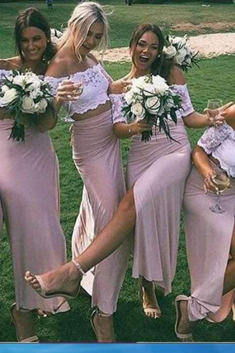 Bridesmaid Dress, Evening Dresses, Prom Dresses,Party Dresses,New Arrival Two Piece Lace Bridesmaid Dress,Slit Side Prom Dress,Off the Shoulder Party Dress,Pink Homecoming Dress,Wedding Guest Prom Gowns, Formal Occasion Dresses,Formal Dress