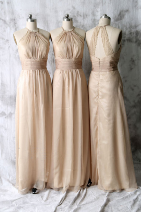 long bridesmaid dress, cheap bridesmaid dress, champagne bridesmaid dress, halter bridesmaid dress, chiffon bridesmaid dress