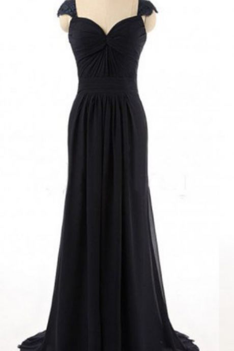 Black Chiffon Ruched Sweetheart Cap Sleeves Floor Length Sheath Bridesmaid Dress Featuring Open Back and Sweep Train