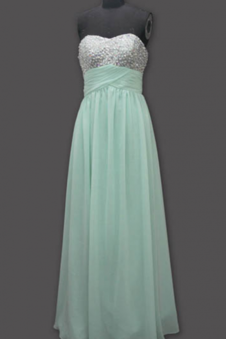 long prom dress, mint prom dress, party prom dress, long mint bridesmaid dress, cheap prom dress, prom dress with beading