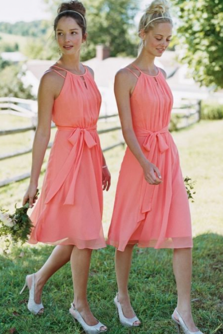 Mini Short Bridesmaid Dress, Waltermelon Bridesmaid Dresses,Chiffon Bridesmaid Dress