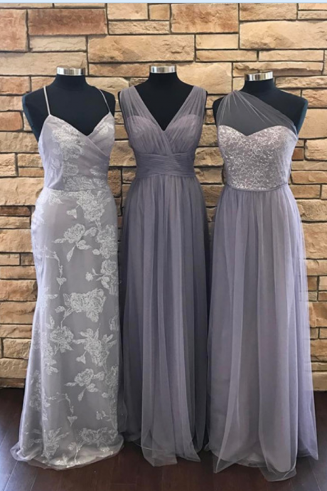 gray bridesmaid dresses.long bridesmaid dresses,cheap bridesmaid dress,long evening gowns