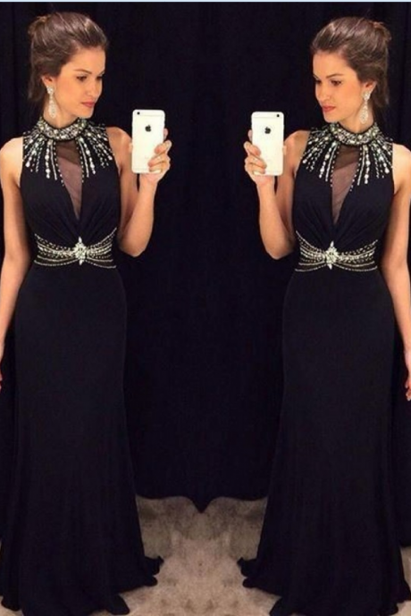 Black Mermaid Prom Dresses High Neck Sleeveless Prom Dress,Beading Chiffon Formal Gowns Sexy Party Cocktail Dress Beaded Chiffon Evening Dress