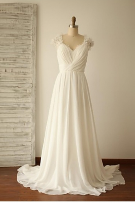 White Chiffon Straps Ruched A-Line Beach Wedding Dress