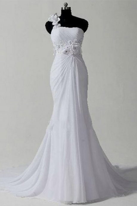Custom Made Romantic Wedding Dress, One Shoulder chiffon Wedding Dresses, Mermaid Wedding Dresses, Cocktail Dresses, formal dresses,Wedding guests dresses