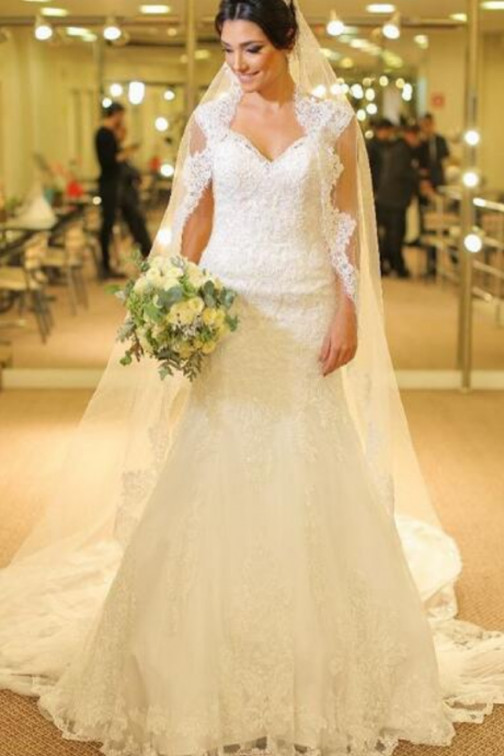 A-line Wedding Dress V-Neck with Cap Sleeves Lace Long Wedding Dresses Bridal Dress Wedding Gown