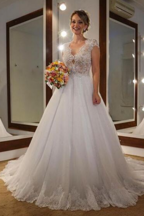 A-line Wedding Dress V-neck Sheer Bodice Tulle Long Wedding Dresses Bridal Dress Wedding Gown