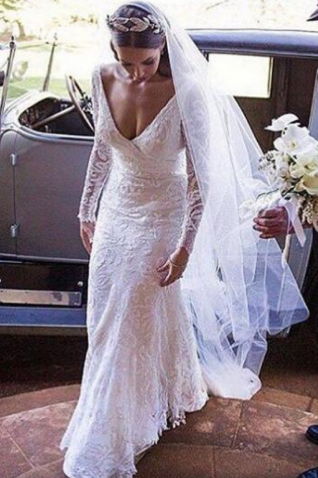 Sexy Mermaid Wedding Dress Deep V-neck Lace Long Wedding Dresses Bridal Dress Wedding Gown
