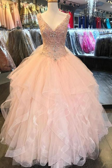 Pink V Neck Tulle Sequin Beads Long Evening Prom Dress
