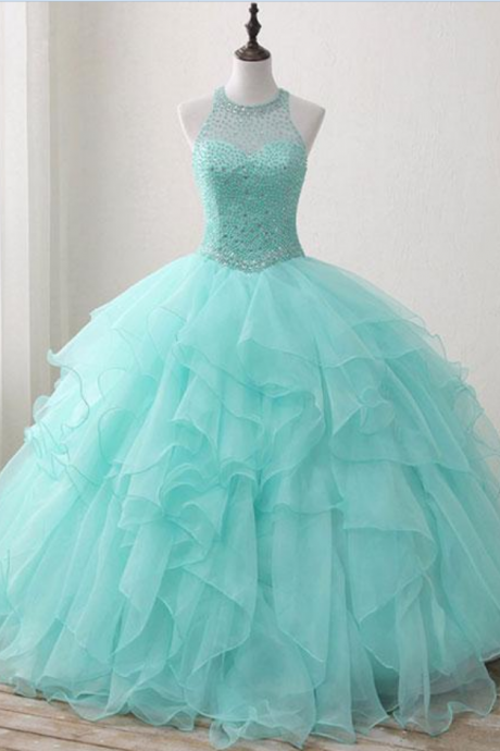 Lovely Green Round Neck Tulle Beads Long Sweet 16 Dress Prom Dress
