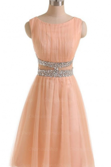 Pink Homecoming Dresses Sleeveless A lines Round Neck Zippers Above-Knee Tulle