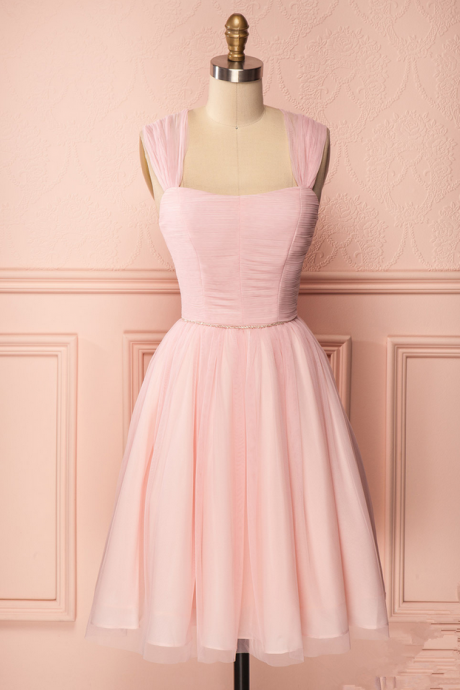 Pink Homecoming Dresses Sleeveless N/A Square Neck Zippers Knee-length Chiffon