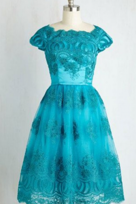 Turquoise Homecoming Dresses Zipper-Up Cap Sleeve Lace Short Round Neck A lines