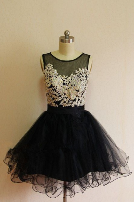Black Homecoming Dresses Zippers Sleeveless Lace Above Knee Illusion Aline