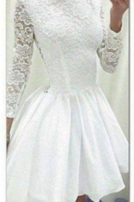 White Homecoming Dresses Zippers Long Sleeves A-Line/Column Round Neck Short Lace