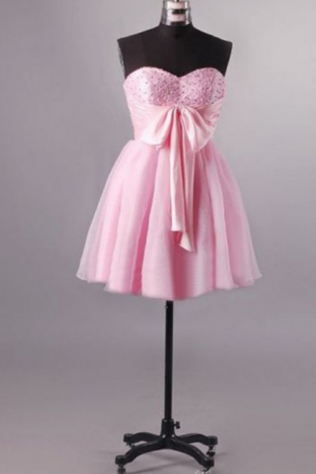 Pink Homecoming Dresses Zippers Sleeveless A-Line/Column Sweetheart Neckline Short Bows