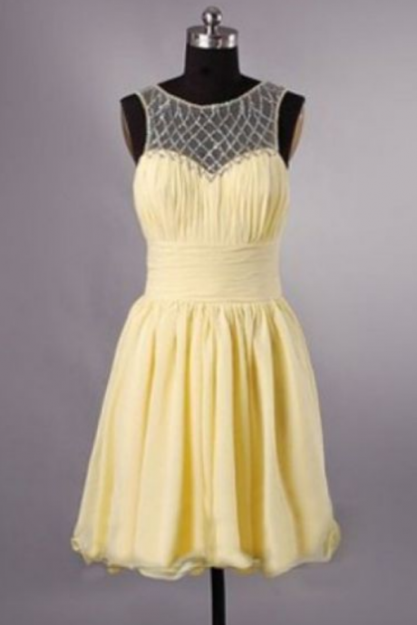 Yellow Homecoming Dresses Hollow Sleeveless A lines Sweetheart Neckline Above-Knee Chiffon