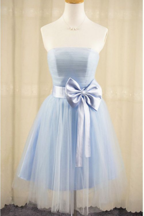 Blue Homecoming Dresses Laced Up Sleeveless Aline Strapless Above Knee Bow