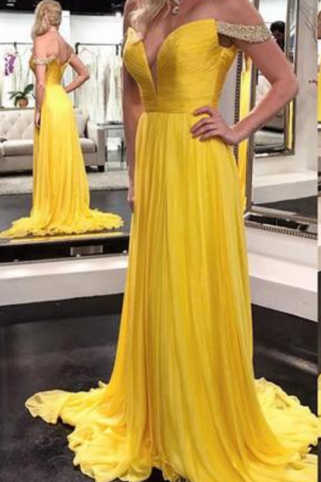 Cheap prom dresses ,Yellow A Line Chiffon Prom Dresses
