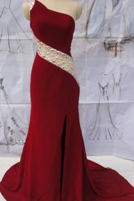 One Shoulder Long Prom Dresses Open Sheer Back Side Cut out Heavy Beaded Court Train