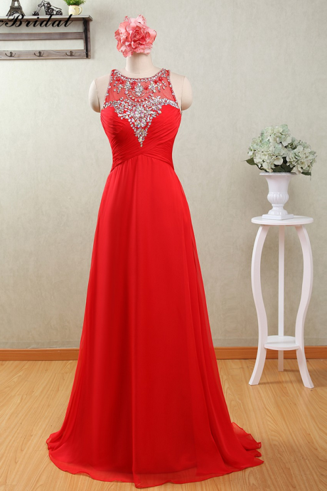 Crystals Scoop Chiffon Red Long Prom Dresses Fast Shipping MX-173 Robe Longue Femme Soiree Mariage